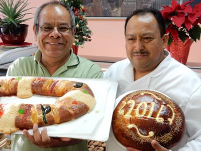 Porfirio Armenta with rosca de reyes, left; Martin Rojas with vasilopita, right.