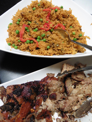 Arroz con gandules (top) with pernil (below).