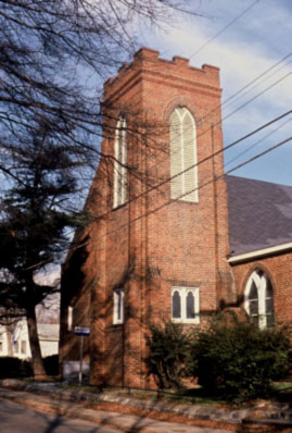 Mt. Carmel Baptist Church photographed in the 1980s. (Photo by Tom Hanchett)