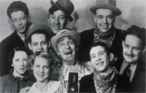 The Briarhoppers (L to R) Sam Briarhopper, Bill, Elmer, Minnie, Zeb, Dad, Charlie Crutchfield, Billie and Homer.