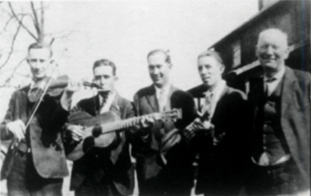 Gordon Buford, Gwen Foster, Avery Keever, A.O. Fletcher, and unidentified farm owner (ca. 1930)