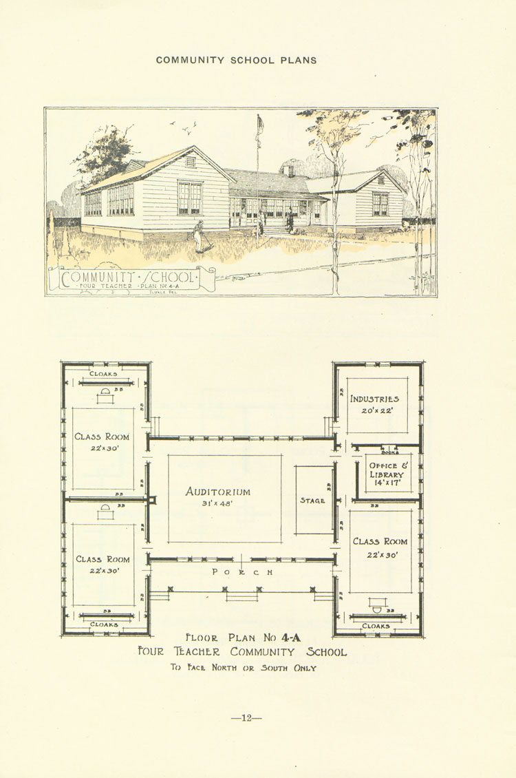 Nashville Plan: North or South Facing, Four Teacher Rosenwald School