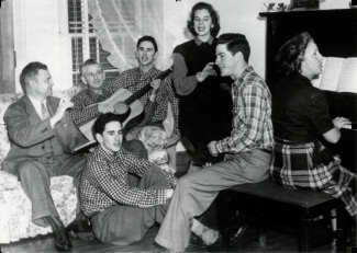 The Johnson Family Singers and Grady Cole: (L to R) Grady Cole, Pa, the twins Bob and Jim, Betty, Kenneth, Ma