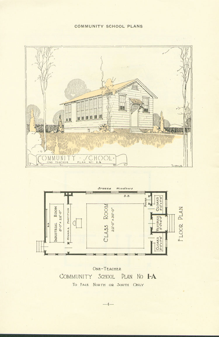 Nashville Plan: North or South Facing, One Teacher Rosenwald School