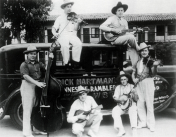 Dick Hartman's Tennessee Ramblers with Happy Morris, Elmer Warren, Dick Hartman, Harry Blair, Cecil Campbell and Kenneth Wolfe.