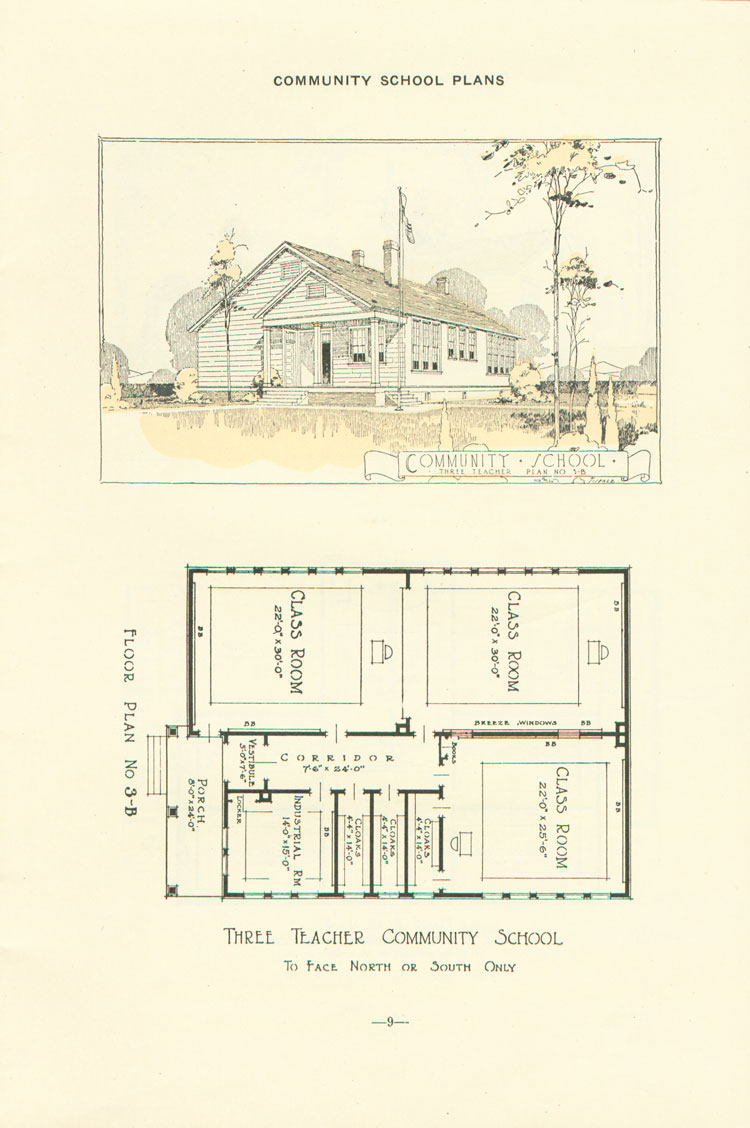 Nashville Plan: North or South Facing, Three Teacher Rosenwald School