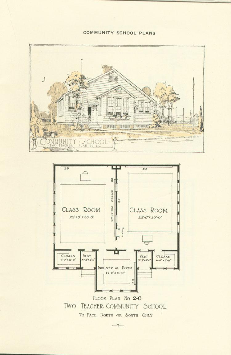 Nashville Plan: North or South Facing, Two Teacher Rosenwald School