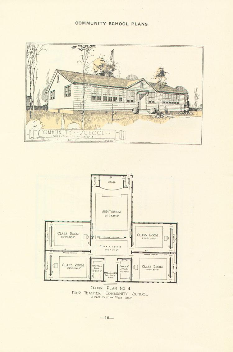 Nashville Plan: East or West Facing, Four Teacher Rosenwald School