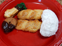 Martin Rojas learned to make (left to right) butter cookies, koulouraki and kourabiedes in NYC.