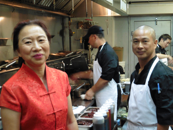 Owner Ying Liang in the kitchen with chefs Mike Lee, Fang Chen and Au Bu Chen.