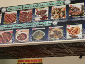 Signboards inside Zafran show specialties from several different regions of Pakistan.