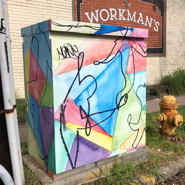Maybe you've seen art springing up on traffic signal boxes around Charlotte? This is the very first one that inspired all the rest — invented by Plaza Midwood artist Laurie Smithwick with support from ArtPOP.org and a City of Charlotte Placemaking Grant.