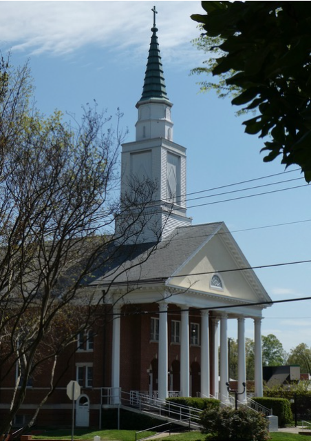 "Built in 1952, this elegant example of Colonial Revival architecture was known as Green Memorial for many years. Today it is the Great Commission Center, an ""incubator"" for new Baptist congregations – many of them rooted in the communities of immigrants who now call Charlotte home. Look for the stone tablet on the front lawn, inscribed with the Bible verse that describes the Great Commission."