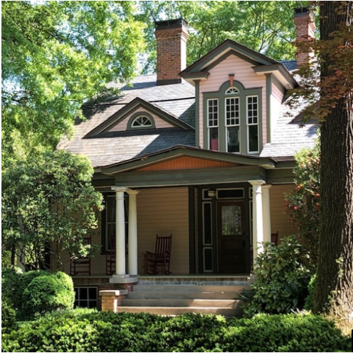 Constructed by a prominent attorney about 1908, this is believed to be the Elizabeth neighborhood's oldest residence. The painstaking renovation shows off its Colonial flourishes, including fanlight windows, in a coat of vibrant Victorian color.