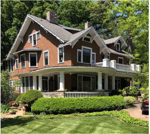 John Baxter Alexander was a brother of W.S. His exuberant 1913 house here mixes Colonial white columns with Bungalow wood-shingle siding and bracketed eaves in an elaborate composition that shows Victorian influence.