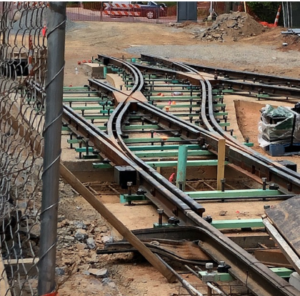 Installing streetcar track