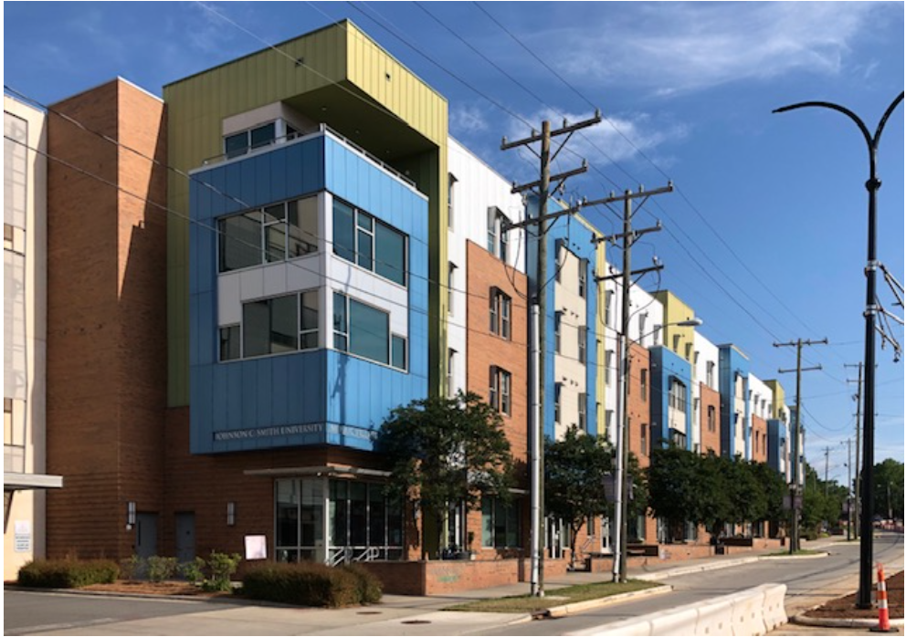 The rhythms of jazz, the collage art of Charlotte's renowned Romare Bearden – architect Darrel Williams (Neighboring Concepts) had those inspirations in mind when he designed this 2012 mixed-use project. A partnership between JCSU, Mecklenburg County and Beatties Ford Road's longtime Griffin family, it provides student housing for JCSU and nearby Johnson