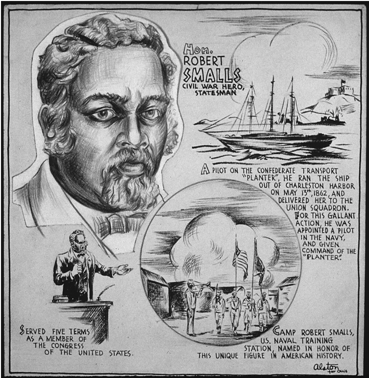 Drawing by Charlotte artist Charles Alston tells the story of South Carolina's Civil War hero Robert Smalls.