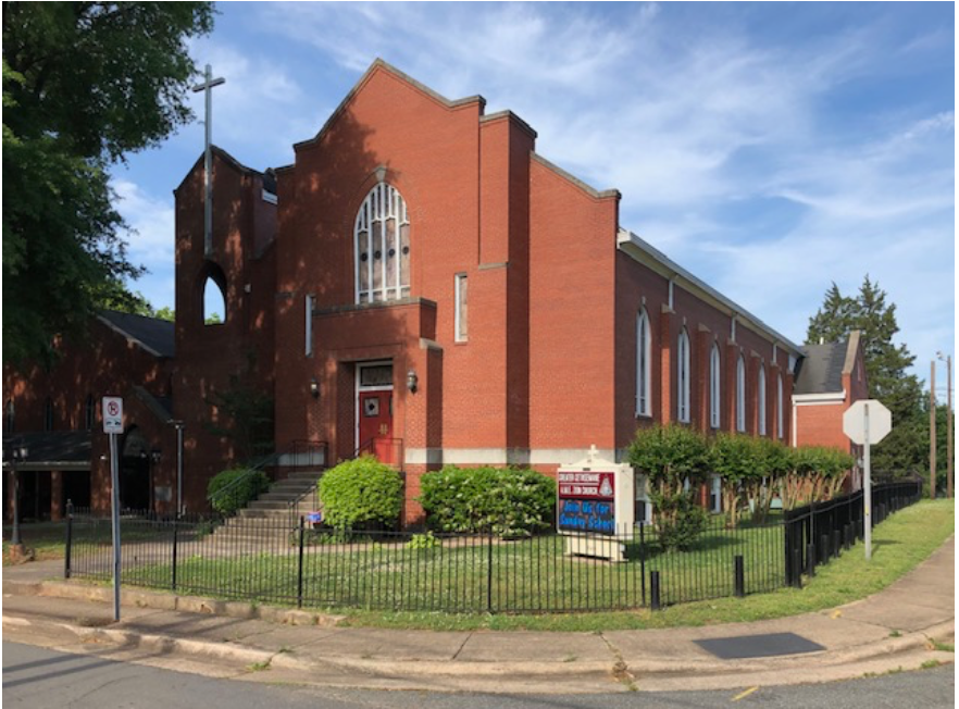 The African Methodist Episcopal Zion denomination began in New York before the Civil War, attracting important black activists as members, including Frederick Douglass and Harriet Tubman. AME Zion missionaries had great success among newly freed African Americans here in North Carolina after the Civil War. This congregation dates to 1873. Its long-time pastor, Rev. George Battle, Jr., became an influential Bishop. When rising prices pushed the denomination out of New York City in 2001, Battle help arrange for AME Zion national headquarters to move to its current campus on Sugar Creek Road in Charlotte.