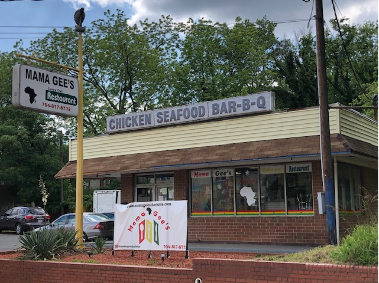 "African American entrepreneur Charles ""Bubba"" McClure built a chain of Busy Bee convenience stores around Charlotte during the 1960s. He expanded into fast food with his Busy Bee Carry-Out, chartered 1976. In recent years it's home to Mama Gee's, African soul food prepared by a family from Ghana."