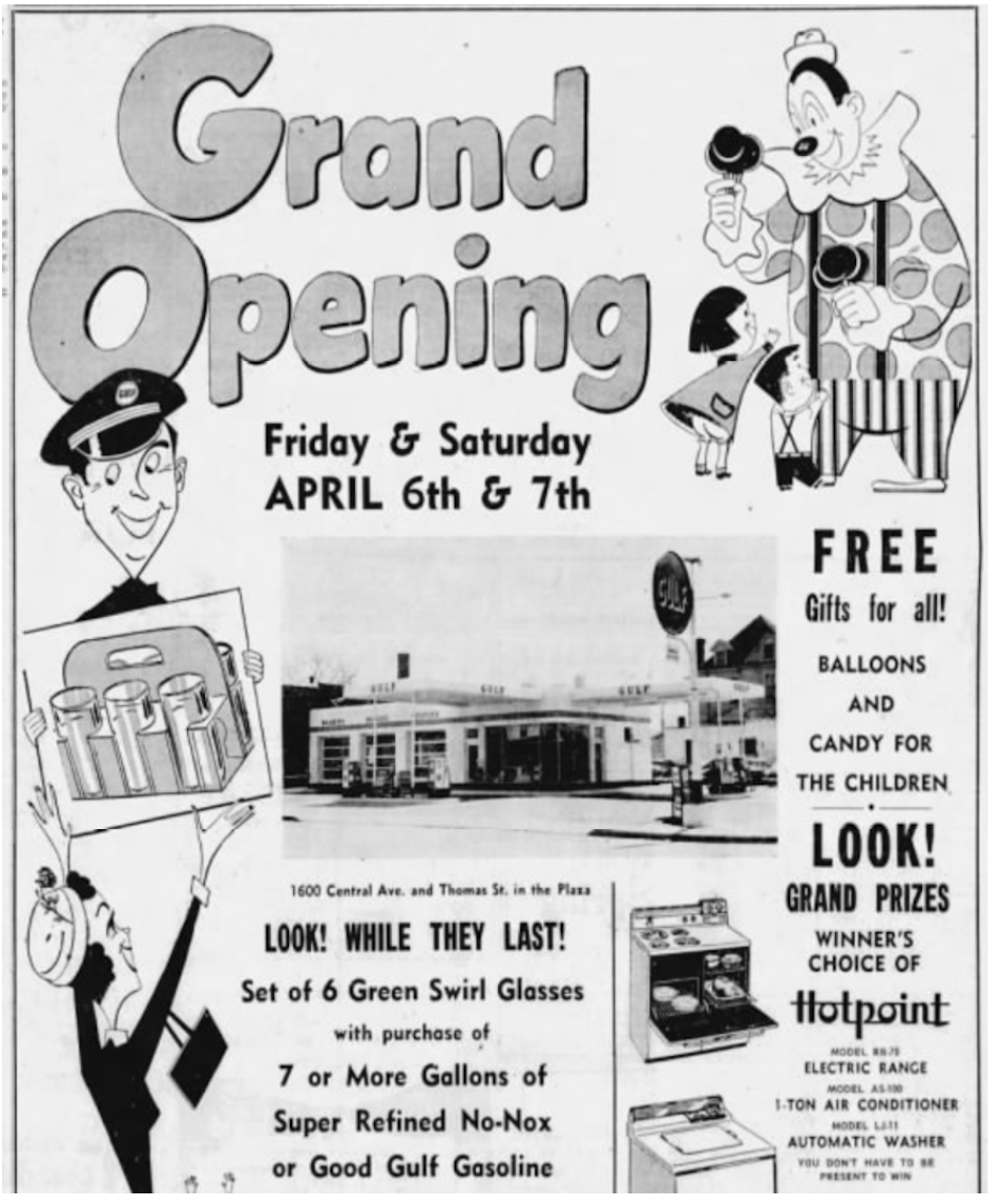 Charlotte Observer, April 5, 1956 You got 6 Green Swirl Glasses if you stopped in at Woodward's Gulf on opening day in 1956. The Pizza Peel's respectful expansion of the original Modernistic architecture debuted in 2014 — their first venture beyond the initial Pizza Peel in Charlotte's Cotswold neighborhood.