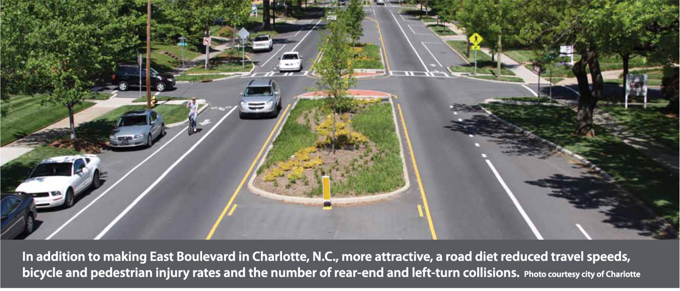 "AARP Livability Fact Sheet Edward Dilworth Latta built East Boulevard wide, with a streetcar track in the middle and ample room for horsedrawn carriage traffic on each side. But with the streetcar long-gone, motorists were treating the wide avenue as a racetrack, hitting speeds up to 60 mph. So in 2010 Charlotte's Department of Transportation added a landscaped median and bicycle lanes – a national model for ""traffic calming."""