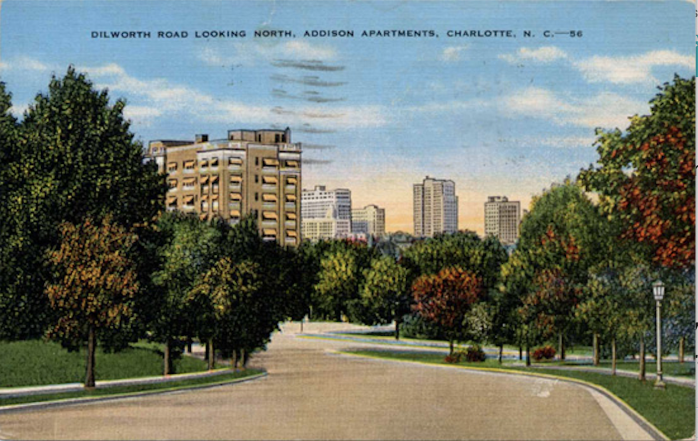 Looking down Dilworth Road to the Addison Apartments circa 1950. Postcard courtesy of Robinson-Spangler Carolina Room, Charlotte Mecklenburg Library.