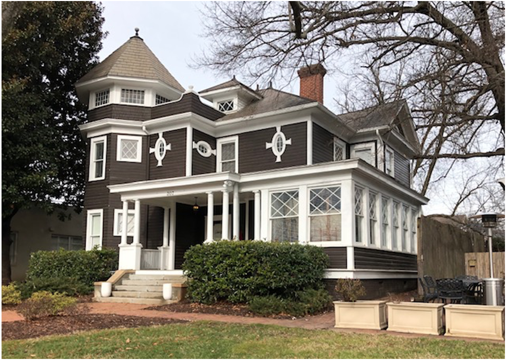 Built in 1903, this exuberant residence boasts a corner tower and asymmetrical massing characteristic of Queen Anne Victorian design. Its initial owner was a railroad agent, followed by Reverend Edward Bomar who led fledgling Pritchard Memorial Baptist a few blocks up South Boulevard. The Brem family moved here after tiring of their Colonial manse at 211 East Boulevard.