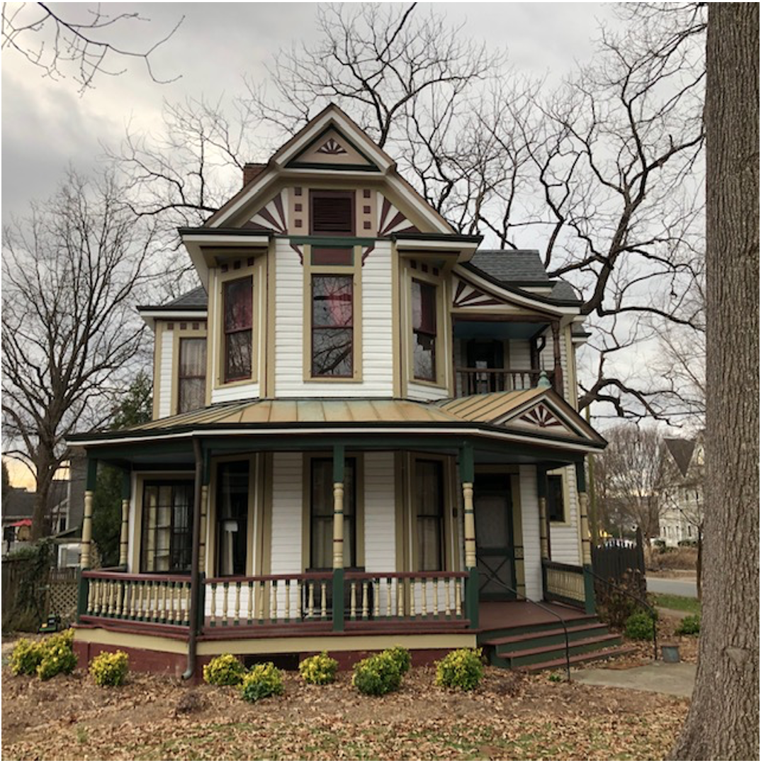This eye-catching house, one of the few well-preserved Victorians left in Charlotte, was built in 1894 by carpenter J.N. Mallonee who had just come from Charleston to Charlotte to launch a contracting business. Think of it as a giant business card. After a couple of years living way out here in the 'burbs, Mallonee sold it to grocer C.W. Jones and moved into town.
