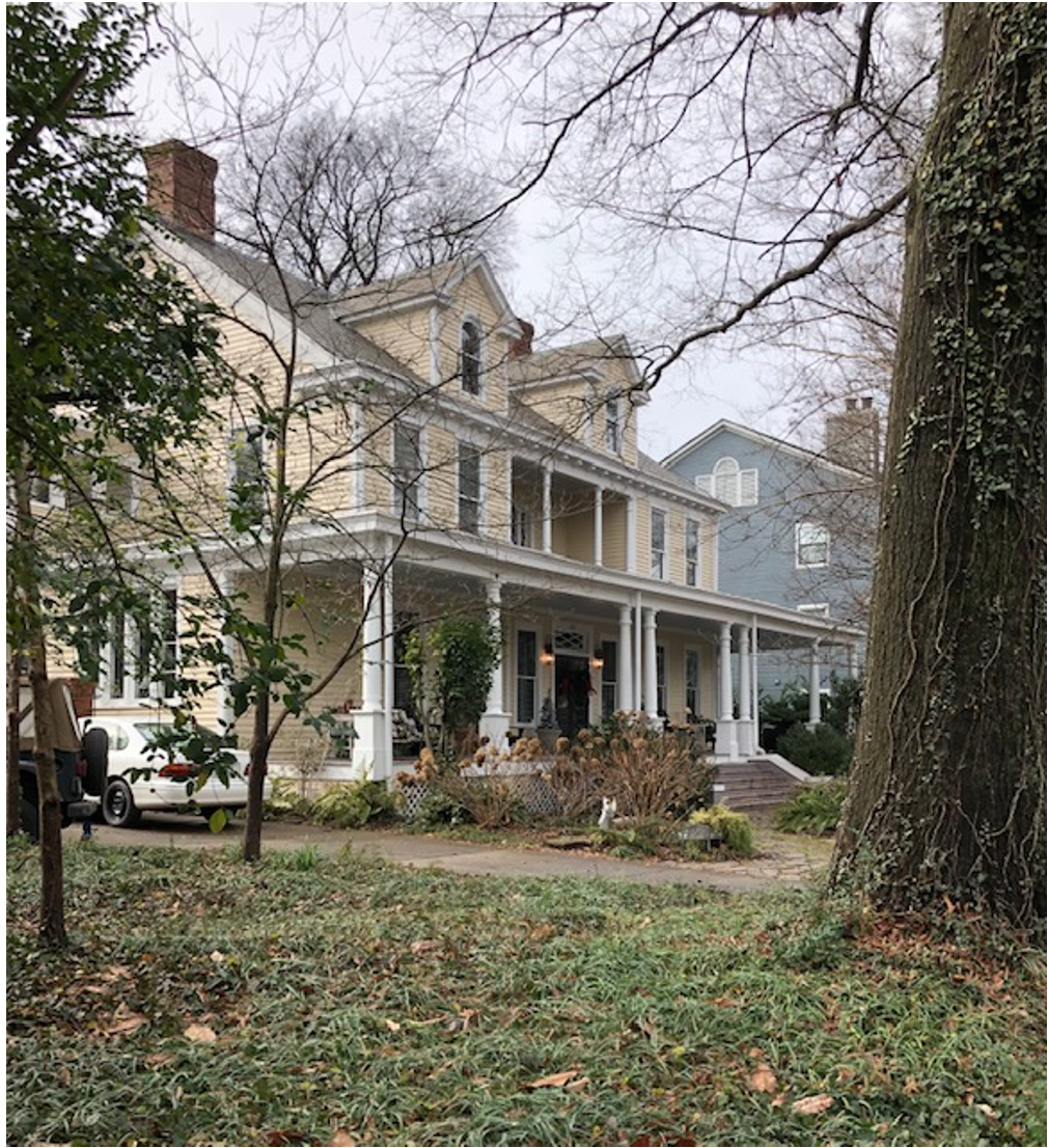 C.C. Hook got to go full-Colonial on this gracious 1897 mansion for Mrs. A.R. Gautier, a widowed socialite who moved down from New York City to be near her Charlotte-based son. She sold to Peter Spence Gilchrist, a chemical engineer who was growing wealthy with companies that produced phosphate fertilizer for farmers and sulfuric acid for textile dyes. Like many Dilworth dwellings, this became a rooming house, unloved and close to demolition. Young carpenter/musician John Bloom and wife Pam bought it in the late 1970s and began a restoration – a turning point in Dilworth's rebirth.