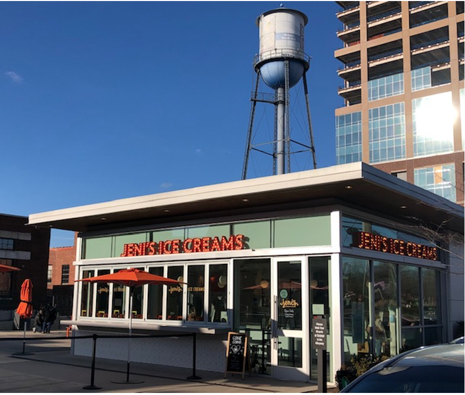 Chain-stores want to be in South End – so many apartments, so many office workers with money to spend. Ohio-based Jeni's, known for quirky ice cream flavors, picked this spot for their very first North Carolina shop in 2018.